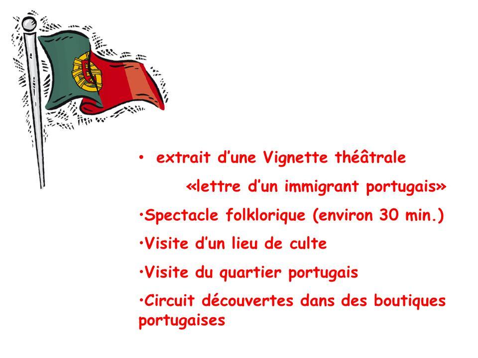 extrait dune Vignette théâtrale «lettre dun immigrant portugais» Spectacle folklorique (environ 30 min.) Visite dun lieu de culte Visite du quartier portugais Circuit découvertes dans des boutiques portugaises