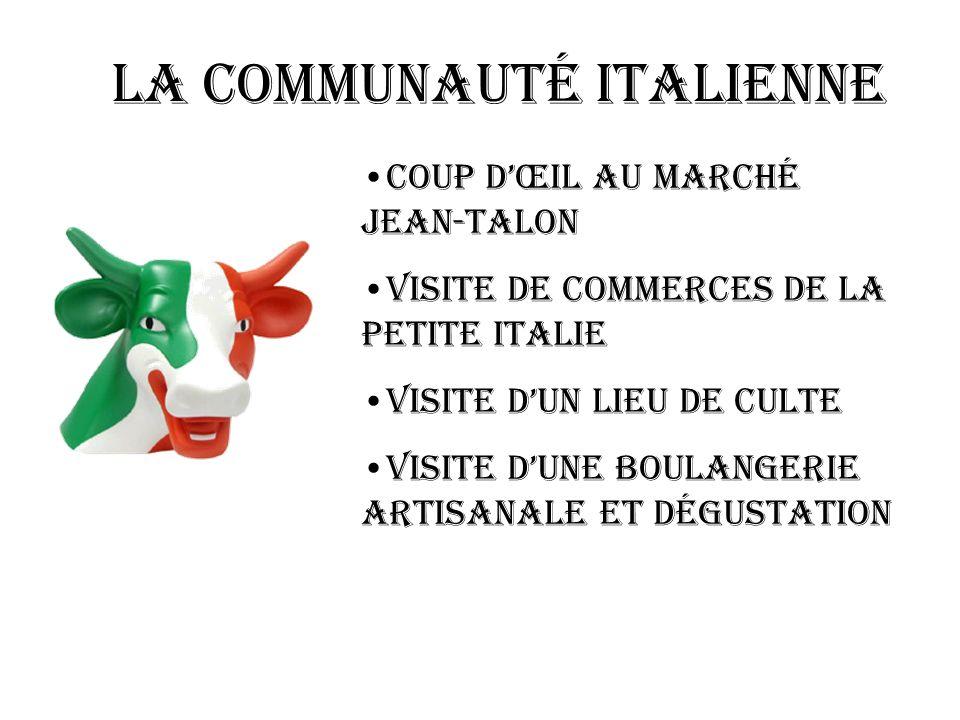 LA communauté italienne Coup dœil au marché jean-talon Visite de commerces de la petite italie Visite dun lieu de culte Visite dune boulangerie artisa