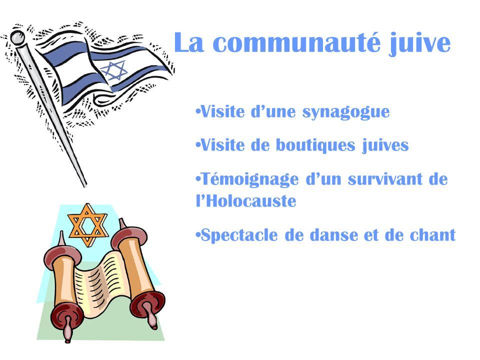 La communauté juive Visite dune synagogue Visite de boutiques juives Témoignage dun survivant de lHolocauste Spectacle de danse et de chant