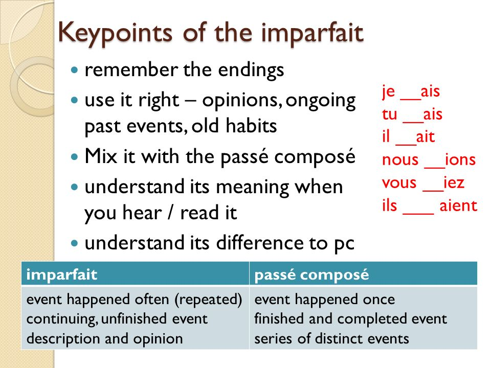 Keypoints of the imparfait remember the endings use it right – opinions, ongoing past events, old habits Mix it with the passé composé understand its meaning when you hear / read it understand its difference to pc je __ais tu __ais il __ait nous __ions vous __iez ils ___ aient imparfaitpassé composé event happened often (repeated) continuing, unfinished event description and opinion event happened once finished and completed event series of distinct events