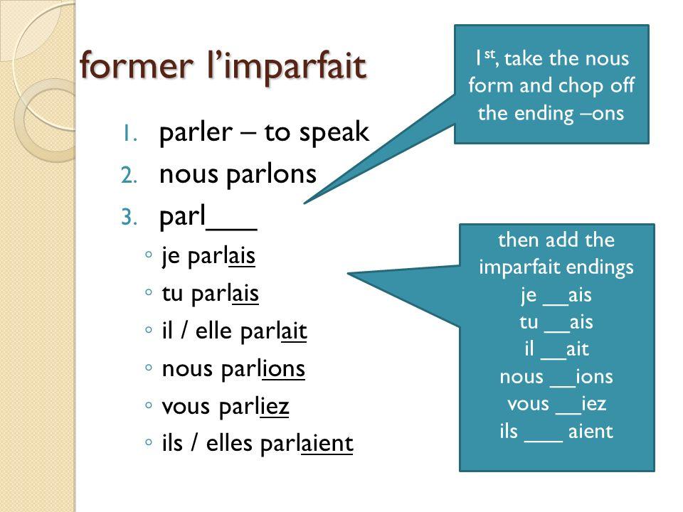 former limparfait 1.parler – to speak 2. nous parlons 3.