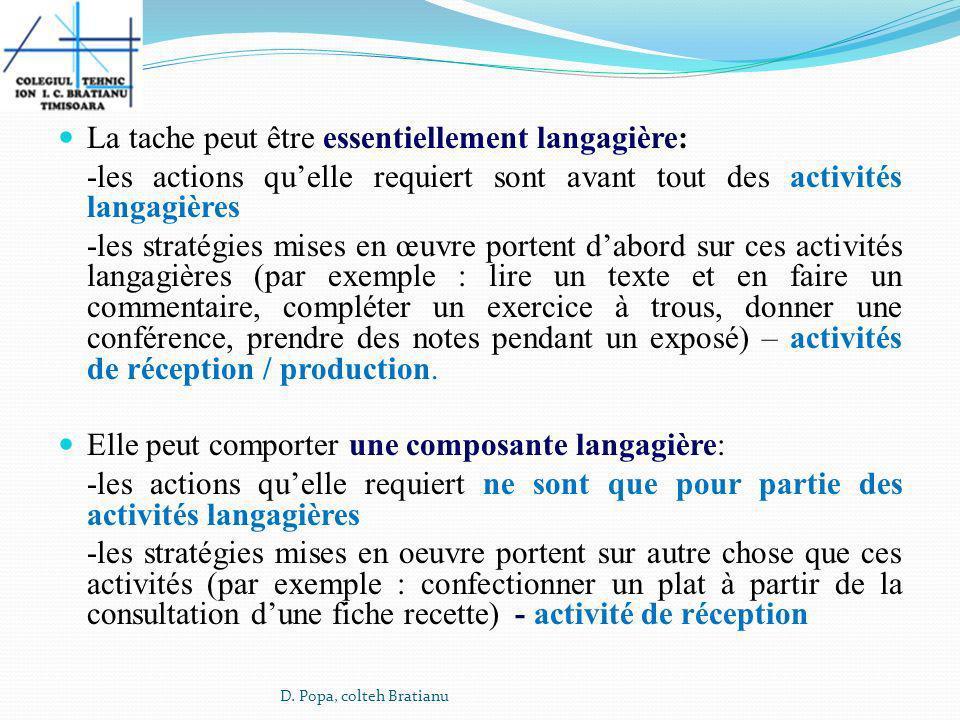 La tache peut être essentiellement langagière: -les actions quelle requiert sont avant tout des activités langagières -les stratégies mises en œuvre p