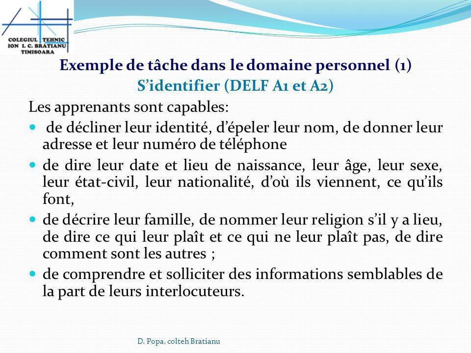 Exemple de tâche dans le domaine personnel (1) Sidentifier (DELF A1 et A2) Les apprenants sont capables: de décliner leur identité, dépeler leur nom,