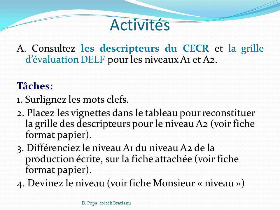 Activités A. Consultez les descripteurs du CECR et la grille dévaluation DELF pour les niveaux A1 et A2. Tâches: 1. Surlignez les mots clefs. 2. Place