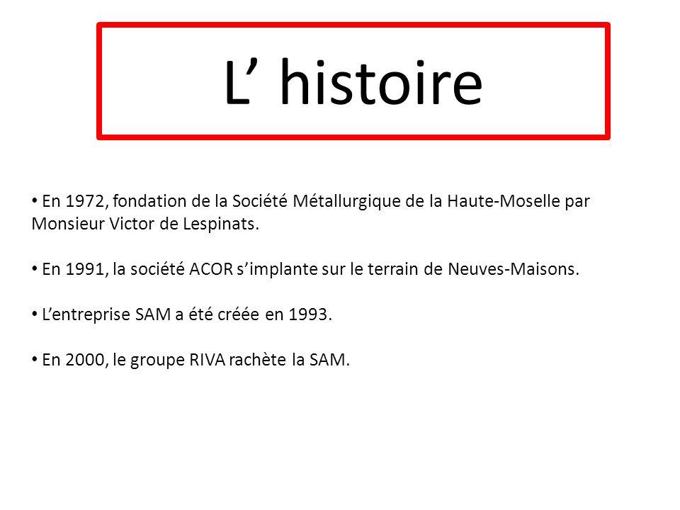 En 1972, fondation de la Société Métallurgique de la Haute-Moselle par Monsieur Victor de Lespinats. En 1991, la société ACOR simplante sur le terrain