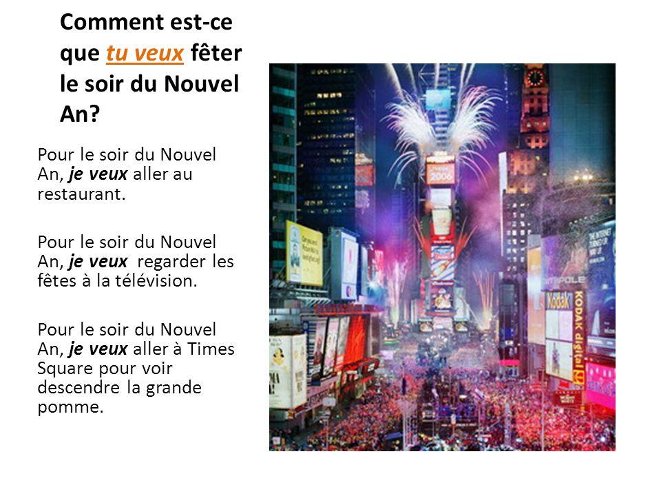 Comment est-ce que tu veux fêter le soir du Nouvel An? Pour le soir du Nouvel An, je veux aller au restaurant. Pour le soir du Nouvel An, je veux rega