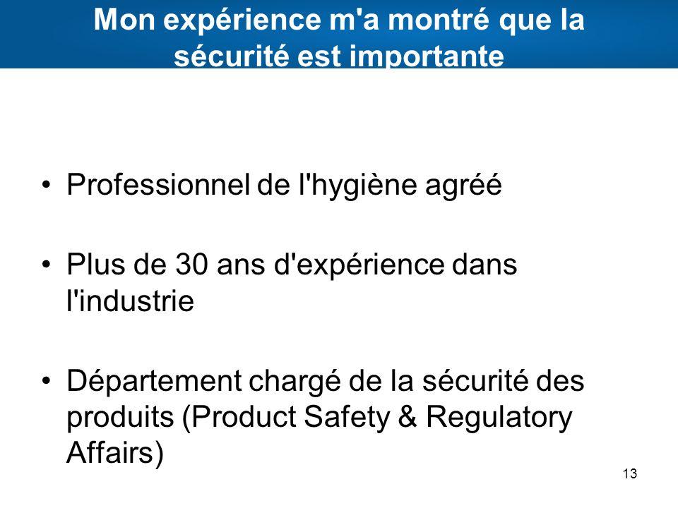 Mon expérience m'a montré que la sécurité est importante Professionnel de l'hygiène agréé Plus de 30 ans d'expérience dans l'industrie Département cha