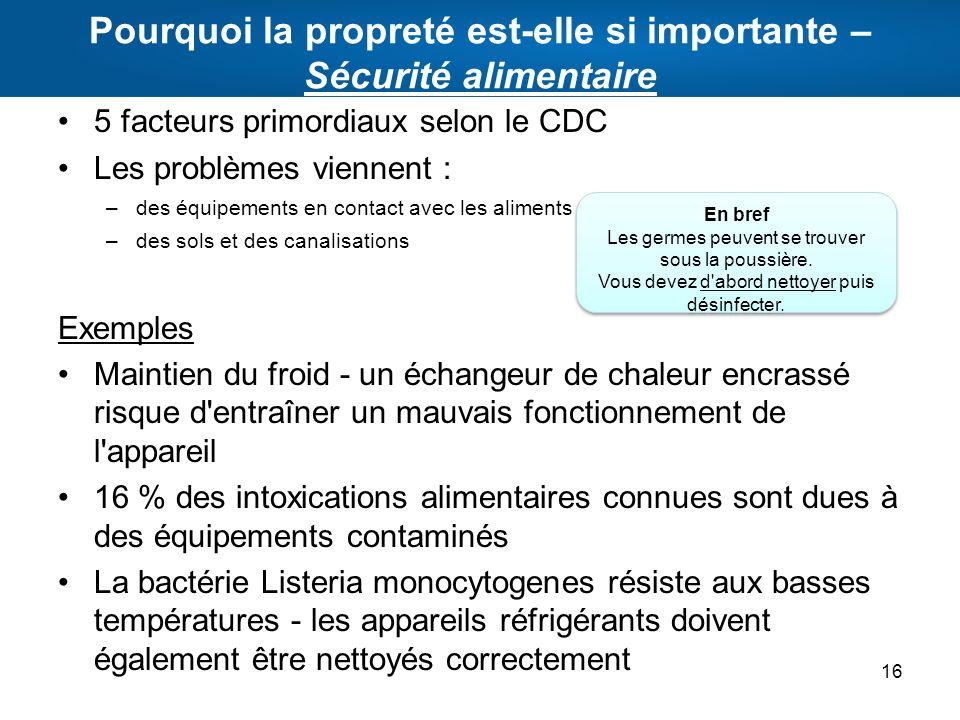 Pourquoi la propreté est-elle si importante – Sécurité alimentaire 5 facteurs primordiaux selon le CDC Les problèmes viennent : –des équipements en co