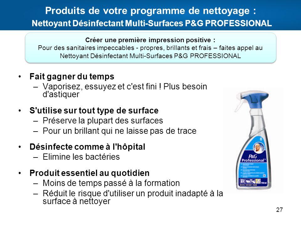 Produits de votre programme de nettoyage : Nettoyant Désinfectant Multi-Surfaces P&G PROFESSIONAL Fait gagner du temps –Vaporisez, essuyez et c'est fi