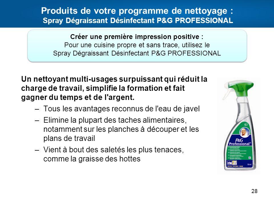 Produits de votre programme de nettoyage : Spray Dégraissant Désinfectant P&G PROFESSIONAL Un nettoyant multi-usages surpuissant qui réduit la charge