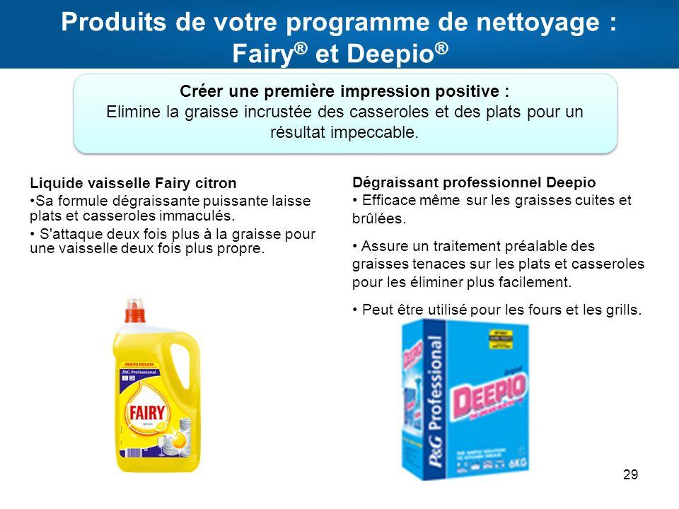 Produits de votre programme de nettoyage : Fairy ® et Deepio ® 29 Liquide vaisselle Fairy citron Sa formule dégraissante puissante laisse plats et cas