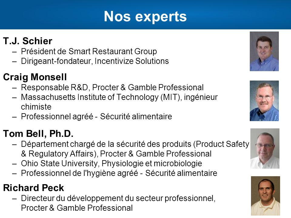 Nos experts T.J. Schier –Président de Smart Restaurant Group –Dirigeant-fondateur, Incentivize Solutions Craig Monsell –Responsable R&D, Procter & Gam