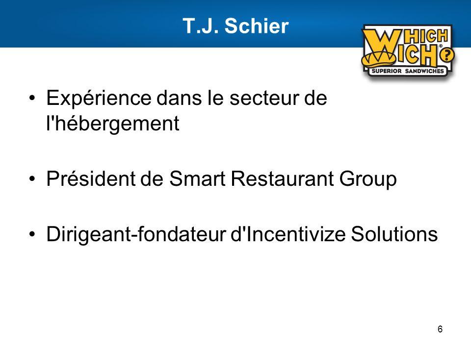 T.J. Schier Expérience dans le secteur de l'hébergement Président de Smart Restaurant Group Dirigeant-fondateur d'Incentivize Solutions 6
