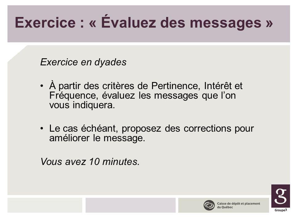 Exercice : « Évaluez des messages » Exercice en dyades À partir des critères de Pertinence, Intérêt et Fréquence, évaluez les messages que lon vous in