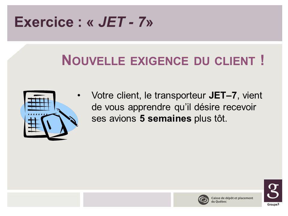 Exercice : « JET - 7» N OUVELLE EXIGENCE DU CLIENT ! Votre client, le transporteur JET–7, vient de vous apprendre quil désire recevoir ses avions 5 se