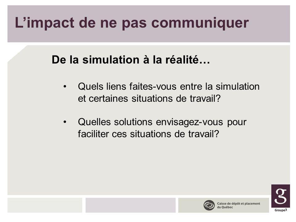Limpact de ne pas communiquer De la simulation à la réalité… Quels liens faites-vous entre la simulation et certaines situations de travail? Quelles s
