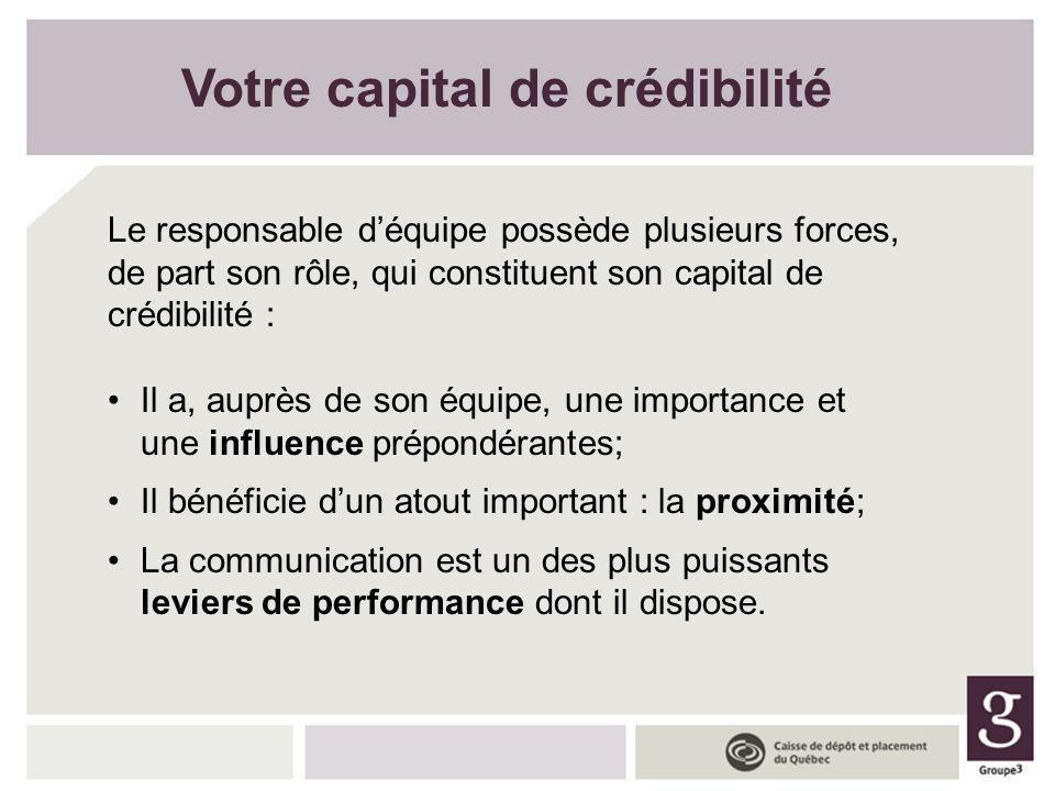Votre capital de crédibilité Le responsable déquipe possède plusieurs forces, de part son rôle, qui constituent son capital de crédibilité : Il a, aup