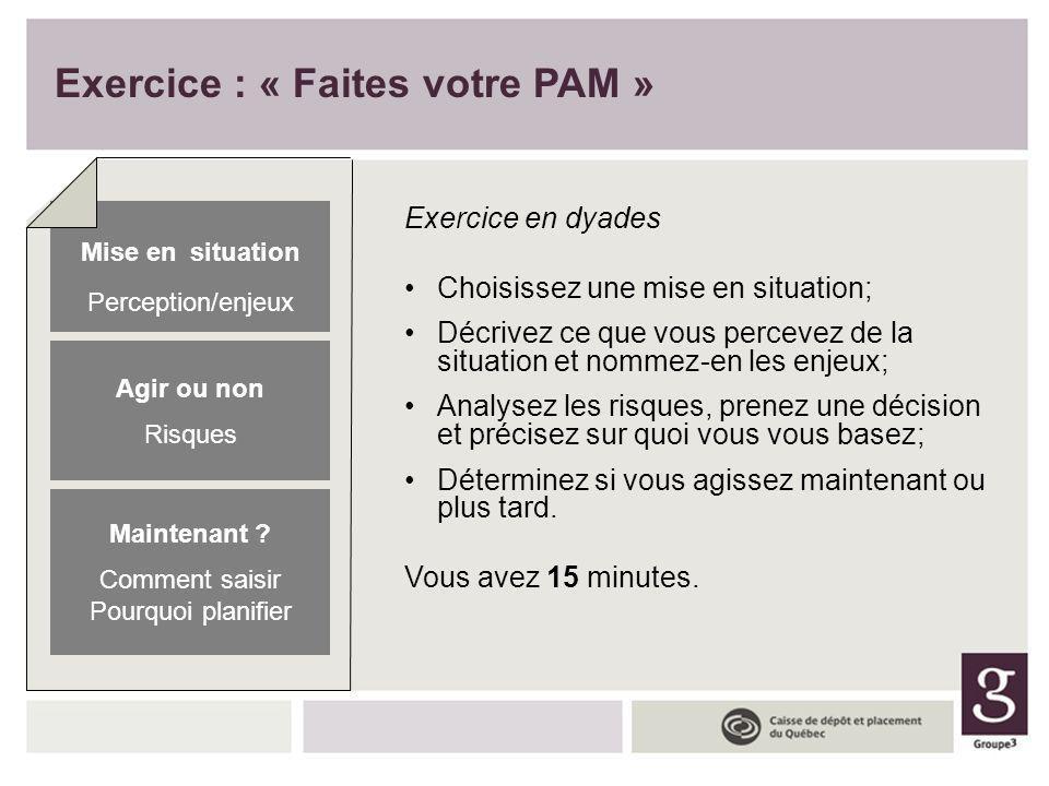 Exercice : « Faites votre PAM » Exercice en dyades Choisissez une mise en situation; Décrivez ce que vous percevez de la situation et nommez-en les en