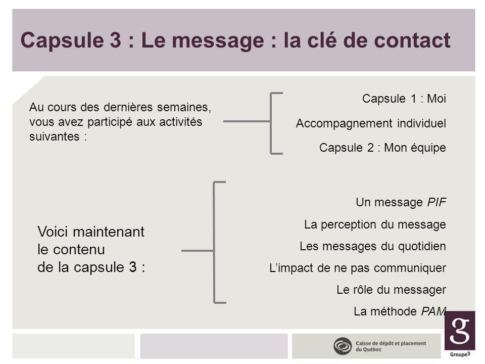 Voici maintenant le contenu de la capsule 3 : Un message PIF La perception du message Les messages du quotidien Limpact de ne pas communiquer Le rôle
