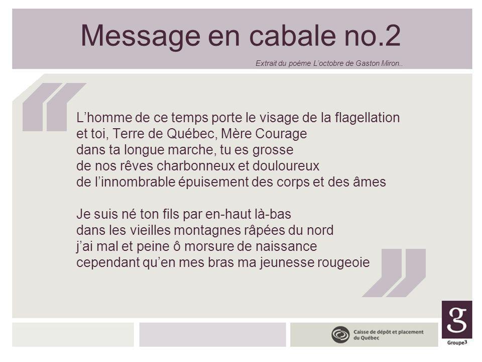 Message en cabale no.2 Lhomme de ce temps porte le visage de la flagellation et toi, Terre de Québec, Mère Courage dans ta longue marche, tu es grosse