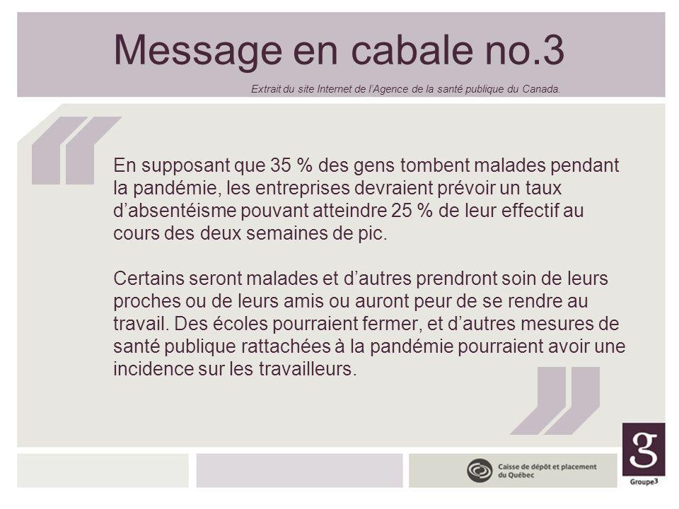 Message en cabale no.3 En supposant que 35 % des gens tombent malades pendant la pandémie, les entreprises devraient prévoir un taux dabsentéisme pouv