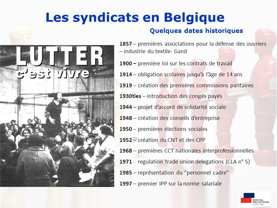 Les syndicats en Belgique Quelques dates historiques 1857 – premières associations pour la défense des ouvriers – industrie du textile- Gand 1900 – pr