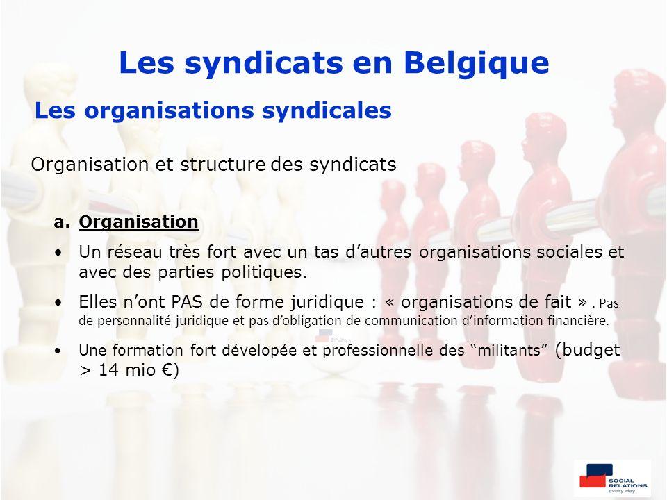 Les syndicats en Belgique Les organisations syndicales Organisation et structure des syndicats a.Organisation Un réseau très fort avec un tas dautres