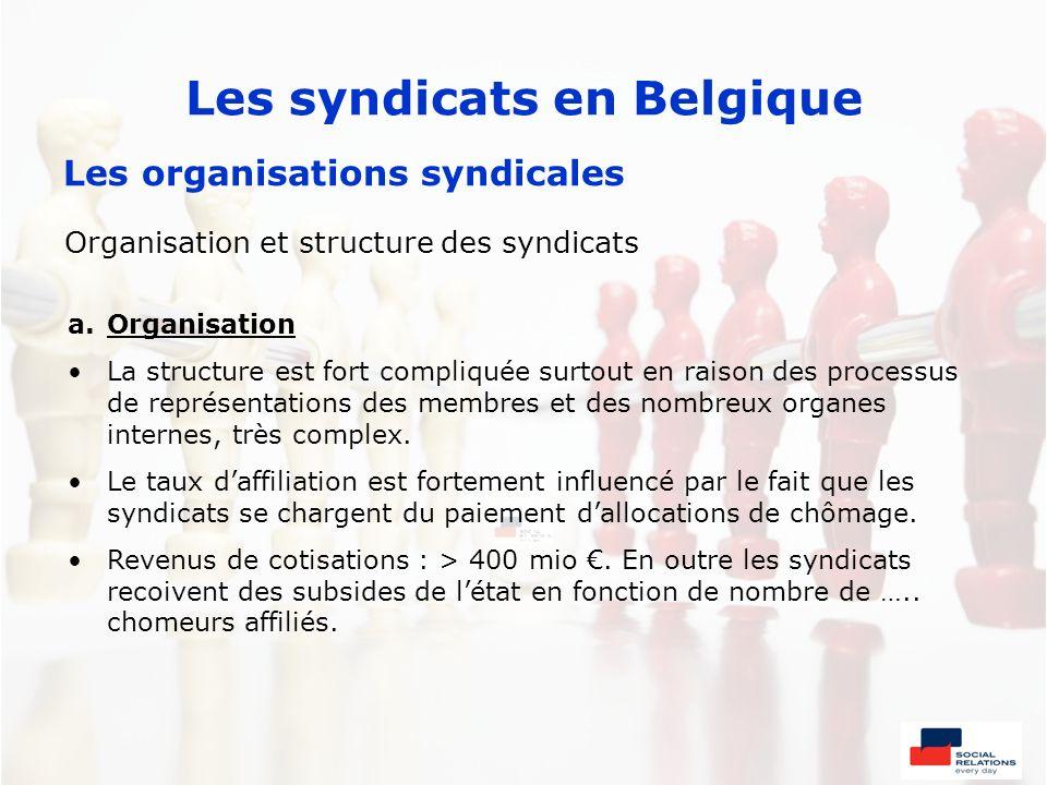 Les syndicats en Belgique Les organisations syndicales Organisation et structure des syndicats a.Organisation La structure est fort compliquée surtout