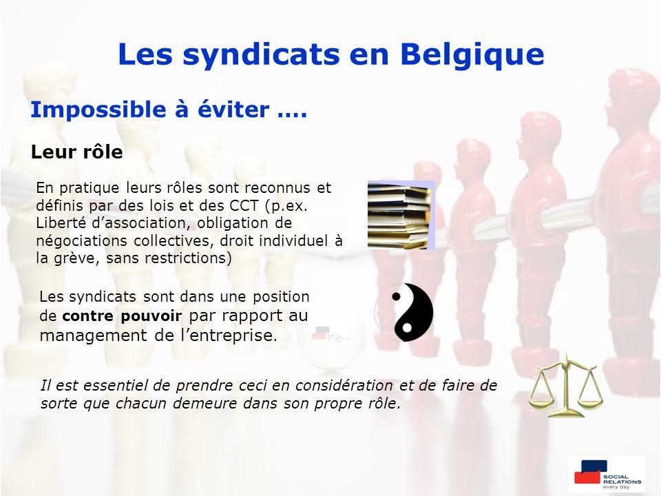 Les syndicats en Belgique Impossible à éviter …. Leur rôle Il est essentiel de prendre ceci en considération et de faire de sorte que chacun demeure d