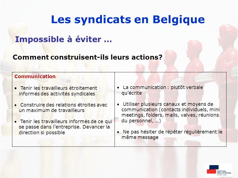 Les syndicats en Belgique Communication Tenir les travailleurs étroitement informés des activités syndicales Construire des relations étroites avec un