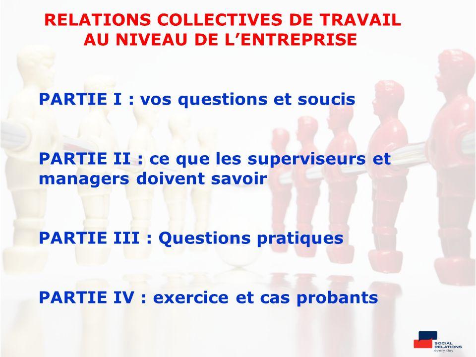 RELATIONS COLLECTIVES DE TRAVAIL AU NIVEAU DE LENTREPRISE PARTIE I : vos questions et soucis PARTIE II : ce que les superviseurs et managers doivent s