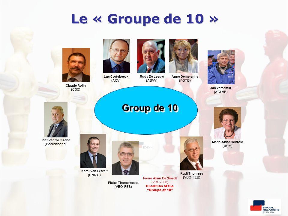 Le « Groupe de 10 » Jan Vercamst (ACLVB) Group de 10 Anne Demelenne (FGTB) Rudy De Leeuw (ABVV) Luc Cortebeeck (ACV) Claude Rolin (CSC) Marie-Anne Bel