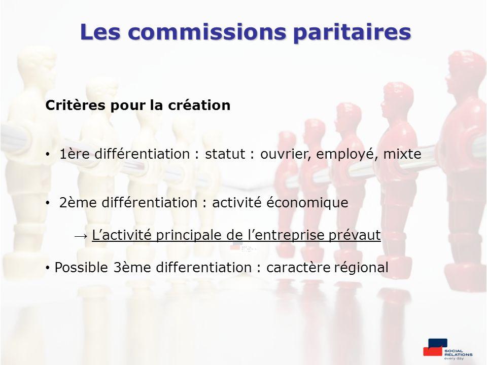 Les commissions paritaires Critères pour la création 1ère différentiation : statut : ouvrier, employé, mixte 2ème différentiation : activité économiqu