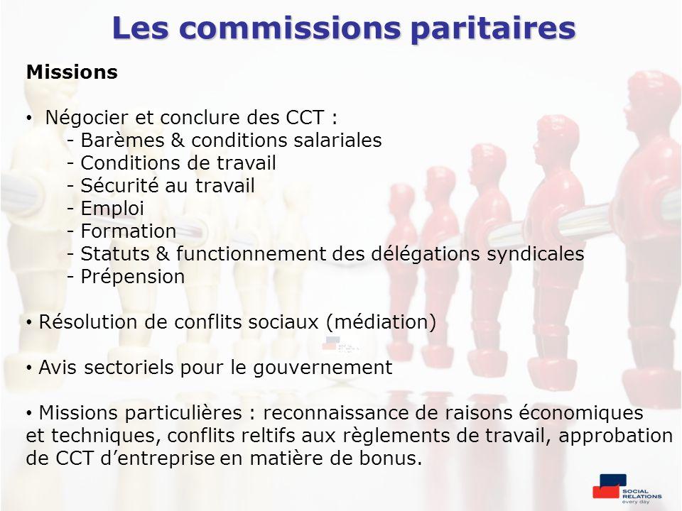 Les commissions paritaires Missions Négocier et conclure des CCT : - Barèmes & conditions salariales - Conditions de travail - Sécurité au travail - E
