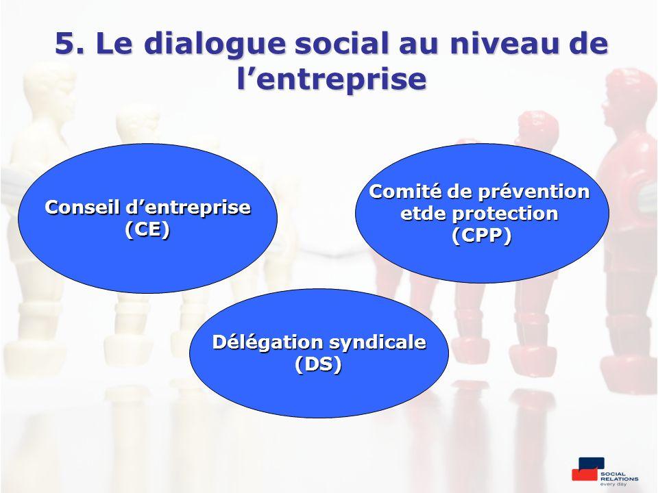 5. Le dialogue social au niveau de lentreprise Comité de prévention etde protection (CPP) Conseil dentreprise (CE) Délégation syndicale (DS)