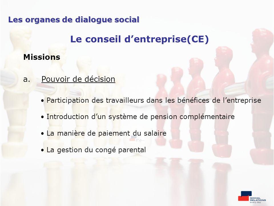 Missions a.Pouvoir de décision Participation des travailleurs dans les bénéfices de lentreprise Introduction dun système de pension complémentaire La