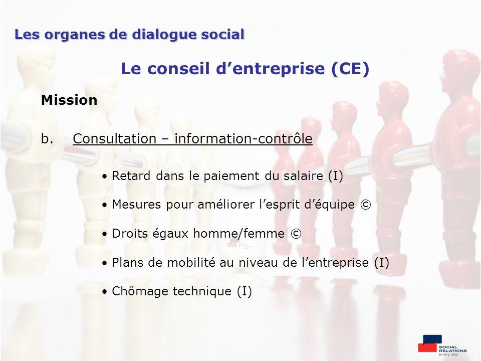 Mission b.Consultation – information-contrôle Retard dans le paiement du salaire (I) Mesures pour améliorer lesprit déquipe © Droits égaux homme/femme