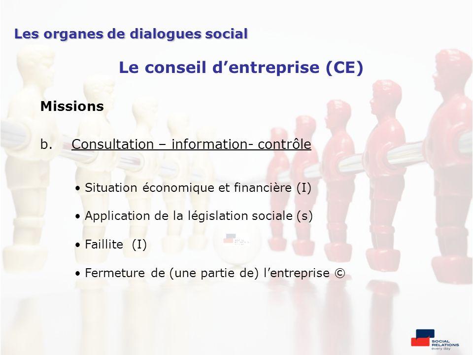Missions b.Consultation – information- contrôle Situation économique et financière (I) Application de la législation sociale (s) Faillite (I) Fermetur