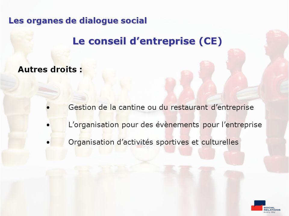 Autres droits : Gestion de la cantine ou du restaurant dentreprise Lorganisation pour des évènements pour lentreprise Organisation dactivités sportive