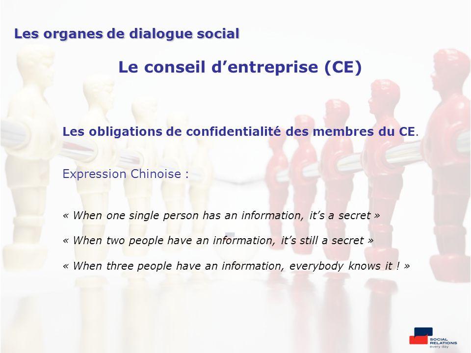Les obligations de confidentialité des membres du CE. Expression Chinoise : « When one single person has an information, its a secret » « When two peo