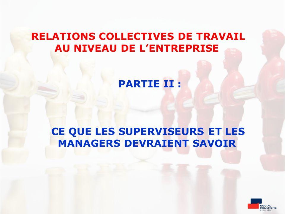 RELATIONS COLLECTIVES DE TRAVAIL AU NIVEAU DE LENTREPRISE PARTIE II : CE QUE LES SUPERVISEURS ET LES MANAGERS DEVRAIENT SAVOIR