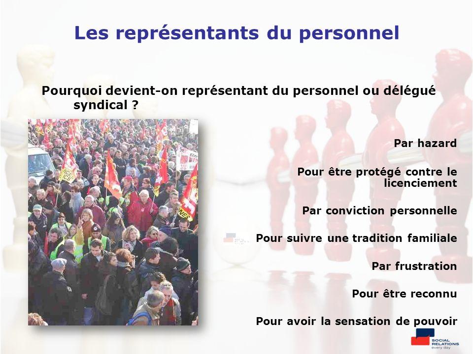 Les représentants du personnel Pourquoi devient-on représentant du personnel ou délégué syndical ? Par hazard Pour être protégé contre le licenciement