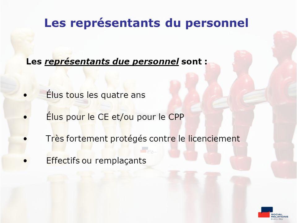 Les représentants du personnel Les représentants due personnel sont : Élus tous les quatre ans Élus pour le CE et/ou pour le CPP Très fortement protég