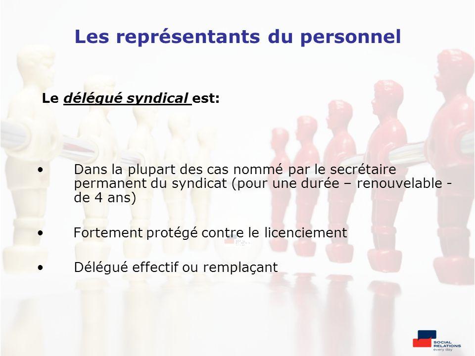 Les représentants du personnel Le délégué syndical est: Dans la plupart des cas nommé par le secrétaire permanent du syndicat (pour une durée – renouv