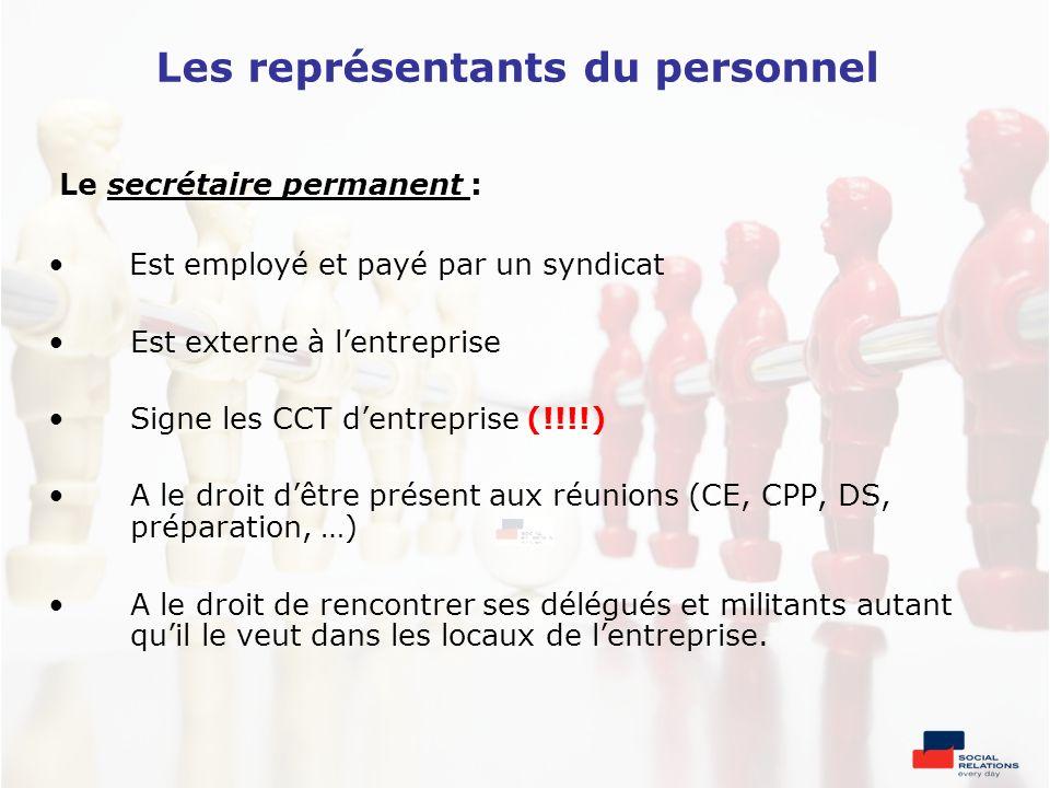 Les représentants du personnel Le secrétaire permanent : Est employé et payé par un syndicat Est externe à lentreprise Signe les CCT dentreprise (!!!!
