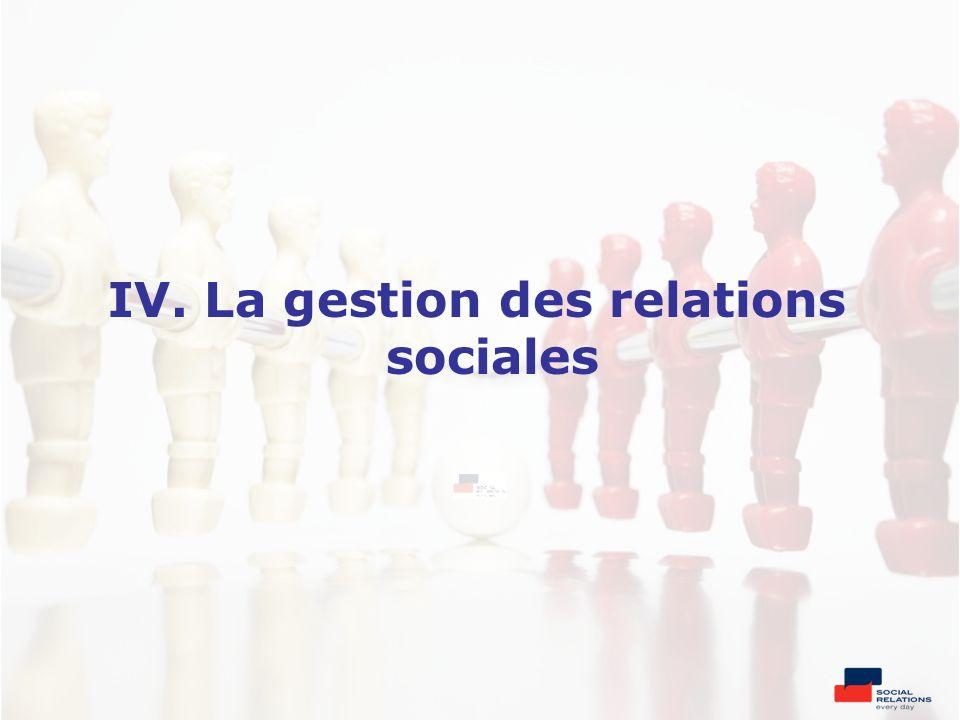 IV. La gestion des relations sociales