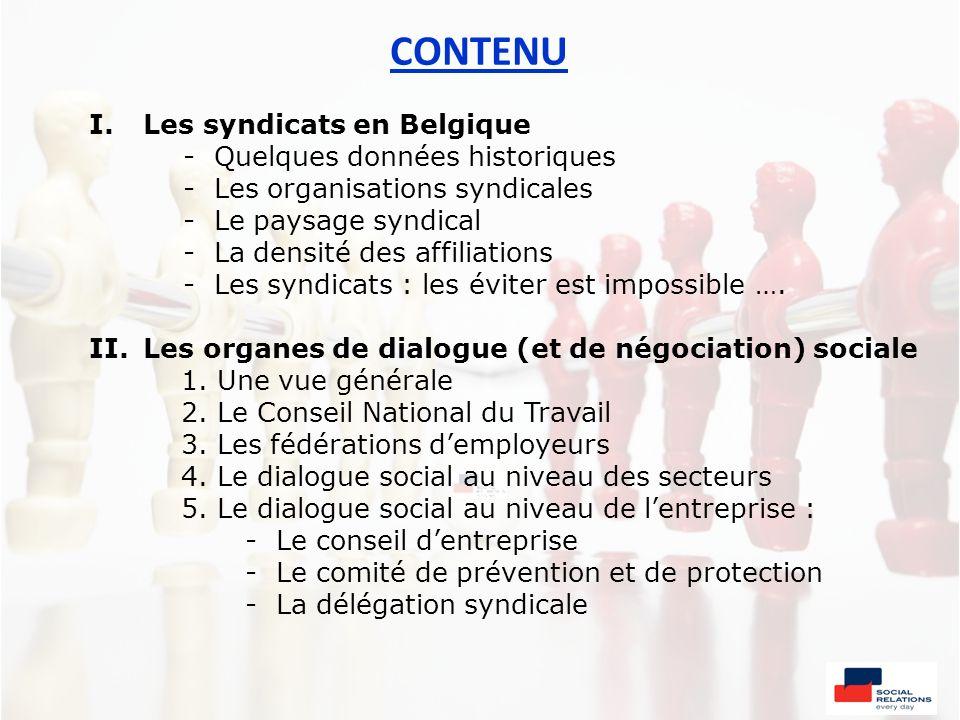 CONTENU I.Les syndicats en Belgique - Quelques données historiques - Les organisations syndicales - Le paysage syndical - La densité des affiliations