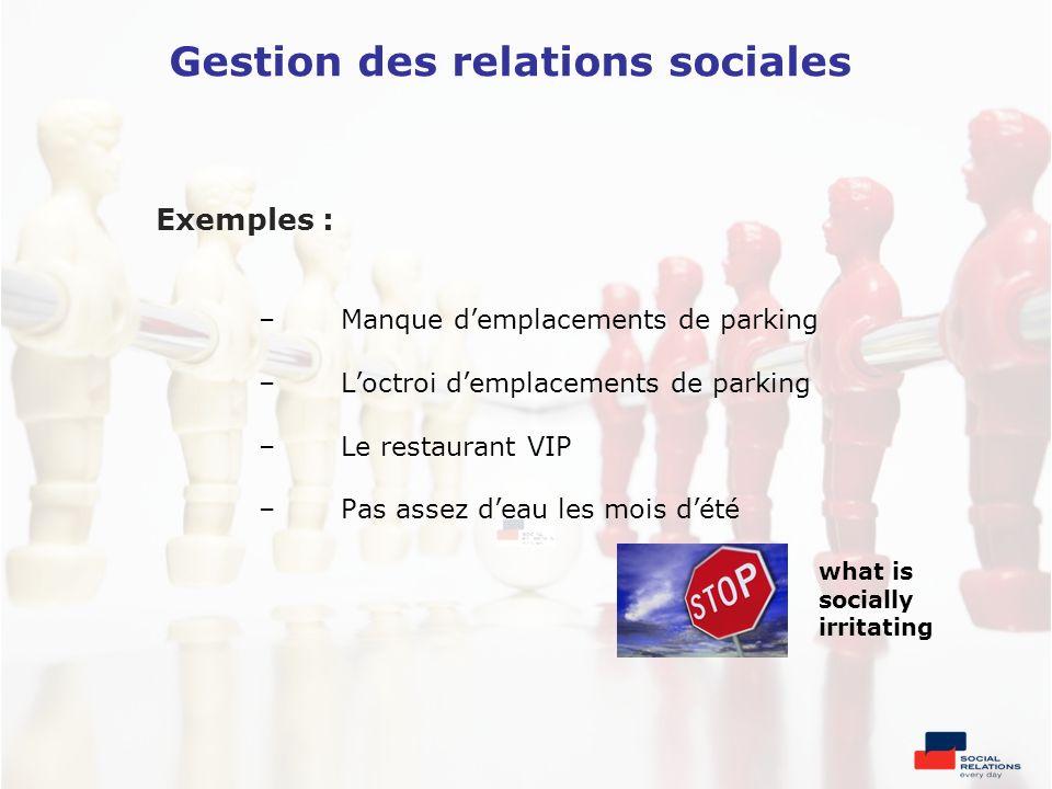 Exemples : –Manque demplacements de parking –Loctroi demplacements de parking –Le restaurant VIP –Pas assez deau les mois dété what is socially irrita