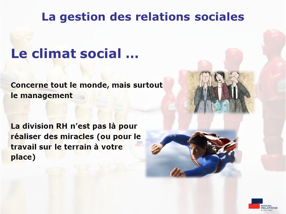 Le climat social … Concerne tout le monde, mais surtout le management La division RH nest pas là pour réaliser des miracles (ou pour le travail sur le