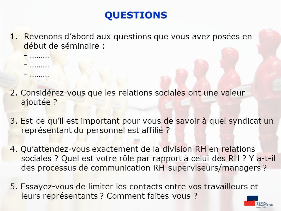 QUESTIONS 1.Revenons dabord aux questions que vous avez posées en début de séminaire : - ……… 2. Considérez-vous que les relations sociales ont une val